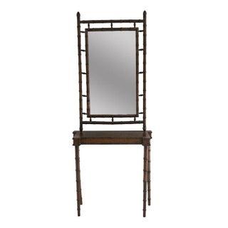 Italian Florentine Bamboo Console & Mirror