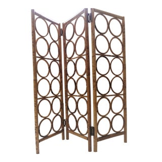 Small Vintage Folding Bamboo Screen