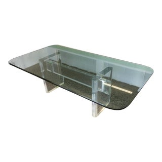 1980's Original Karl Springer, Glass and Lucite Dining Table Signed