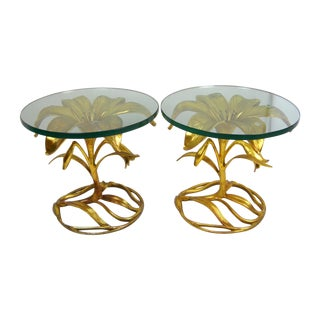 Arthur Court Gilt Lily Side Tables - Pair