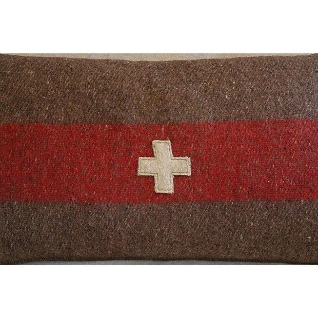 Swiss Wool Appliqué Cross Lumbar Pillows - Pair - Image 8 of 8