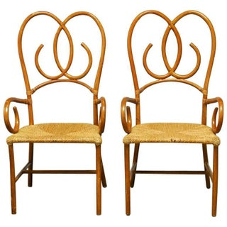 French Art Deco Style Rattan Armchairs - Pair