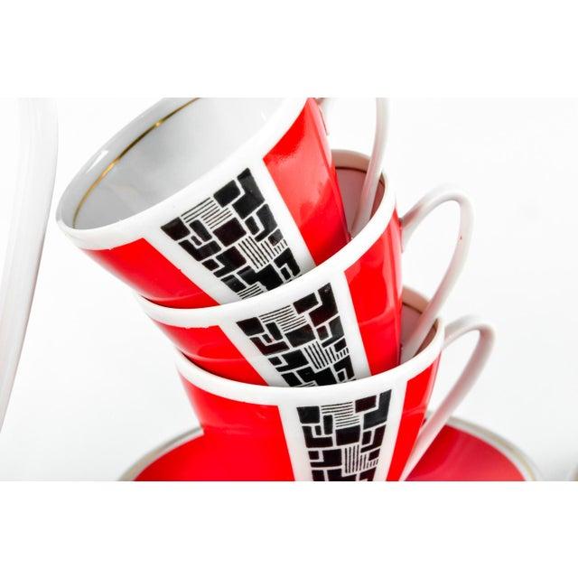 Art Deco Porcelain German Espresso Set - 17 Pieces - Image 8 of 11