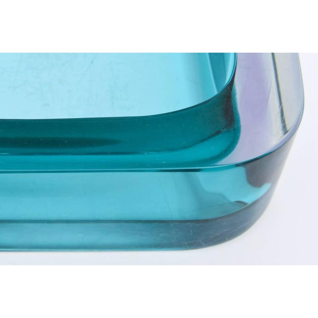 Italian Flat Cut Polished Cenedese Sommerso Square Glass Bowl - Image 5 of 9