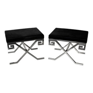 Jean Michel Frank Style Chrome & Hide Benches - A Pair