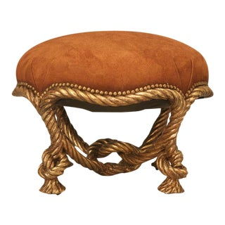 "Original Antique French Carved and Gilded Knotted ""Rope"" Footstool or Ottoman"