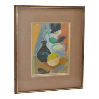 1950s Still Life with Flowers Woodblock