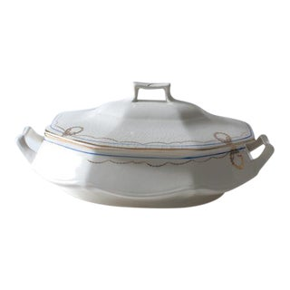 Antique Lidded Cobalt and Gold Accent Serving Dish