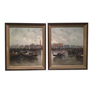 Mid-Century Views of Venice Paintings - A Pair