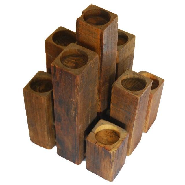 Image of Vintage Wood 9 Candle Holder