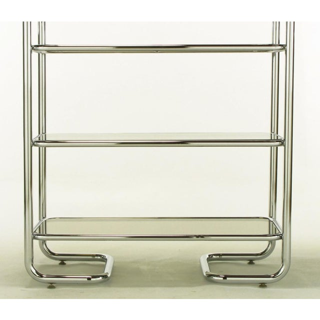 Image of Tubular Chrome & Smoked Glass Five Shelf Etagere.