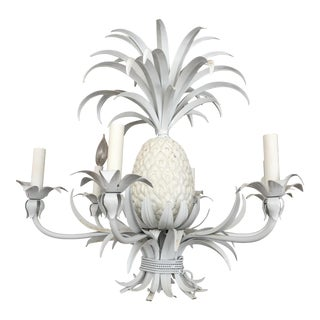 White Metal Pineapple Six Light Chandelier