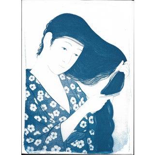 Cyanotype Print -Geisha Combing Hair by Hashiguchi