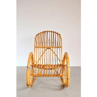Rattan Rocking Chair in the style of Franco Albini, Italy, circa 1950