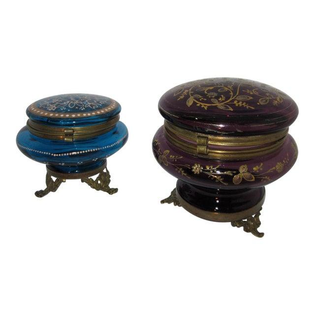 Victorian Czech Art Glass Ormolu Dresser Boxes - A Pair - Image 1 of 6