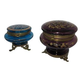 Victorian Czech Art Glass Ormolu Dresser Boxes - A Pair
