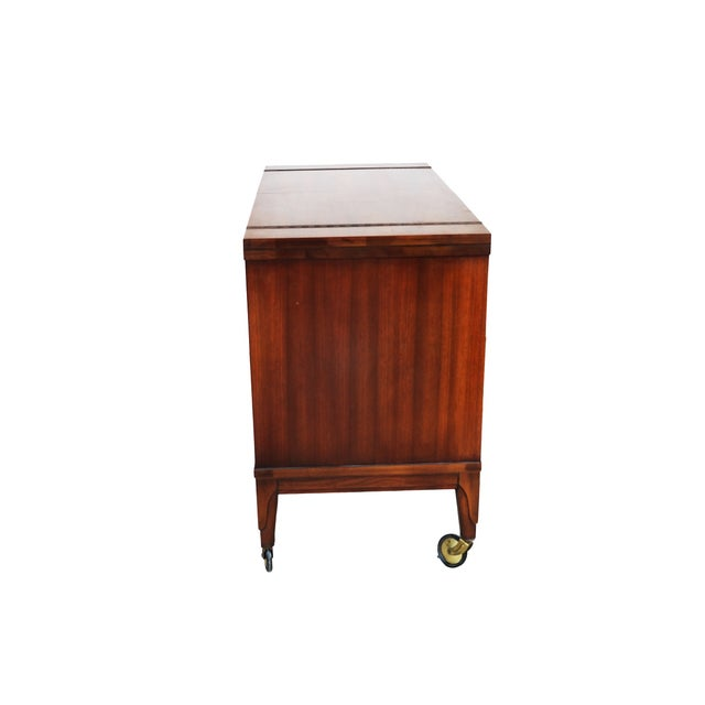 Mid Century modern Walnut Flip Top Bar Cabinet - Image 3 of 7