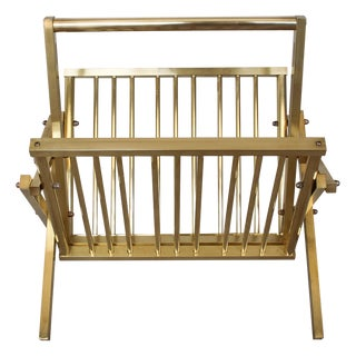 Vintage Polished Brass Folding Magazine Rack