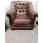 Image of Leather Club Chairs - Pair
