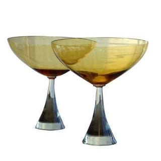 Swedish Amber Glass Chalices - A Pair