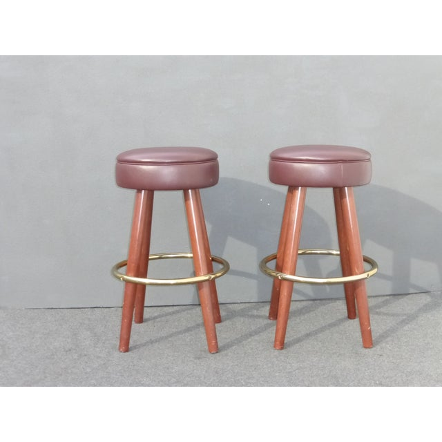 Mid-Century Modern Brown Vinyl Bar Stools - A Pair - Image 3 of 11