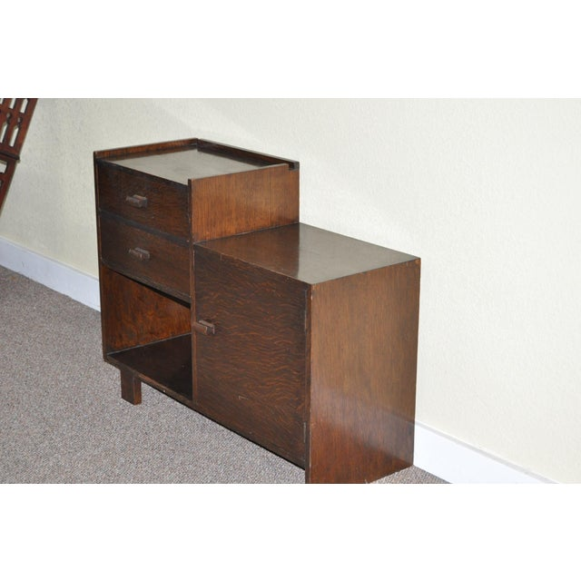 Image of Circa 1930 English Art Deco Oak Bedside Cabinet