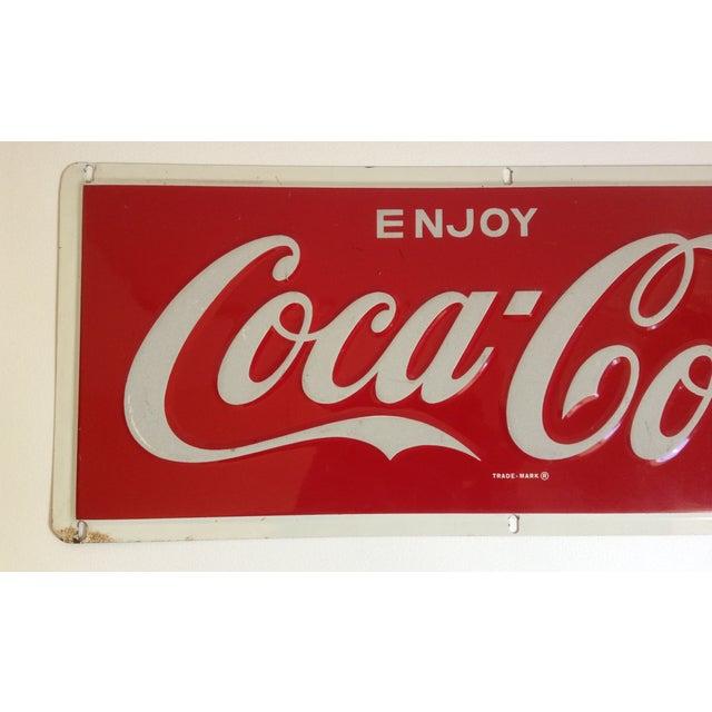 Image of Coca-Cola Metal Tin Enamel Sign - c.1969