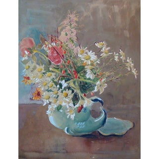 1940s Mid-Century Floral Still Life Watercolor