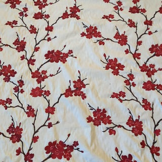 Chinoiserie Red Cherry Blossom Embroidered Fabric - 7 Yds