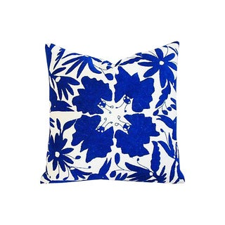 Custom Hand-Embroidered Blue & White Otomi Pillow
