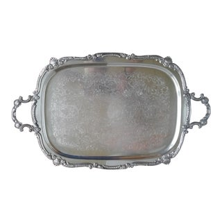Extra Large Vintage Silver Plated Serving Tray