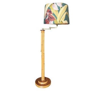 Mid-Century Rattan Pole Reading Floor Lamp with Tropical Lamp Shade
