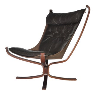 """Sigurd Resell """"Falcon"""" Leather and Rosewood Chair"""