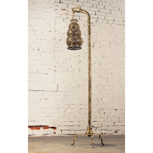 Tibetan Hammered & Pierced Brass Dragon Floor Lamp - Image 2 of 11