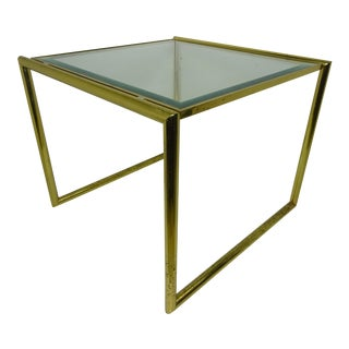 Square Brass Beveled Glass Top Table