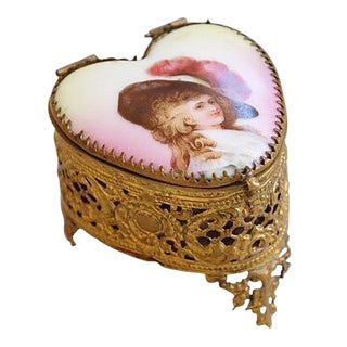 1920s French Hand-Painted Heart Shaped Trinket Keepsake Box