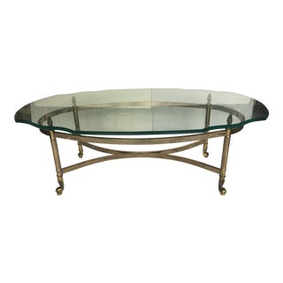 Vintage Brass and Beveled Oval Coffee Table in the Style of Maison Jansen