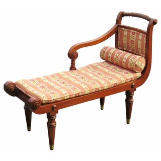 Regency Style Carved Upholstered Caned Settee