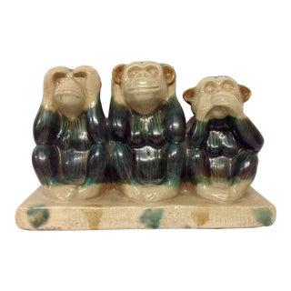 French Majolica Wise Monkeys Ceramic Sculpture