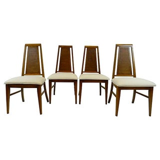 MCM High Back Caned Cream Dining Chairs - S/4