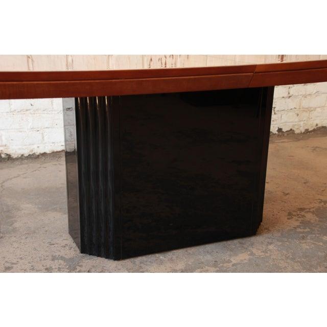 Vintage Mid Century Coffee Table Hawaiian Koa Wood By: Henredon Elan Collection Black Lacquer & Koa Wood Pedestal
