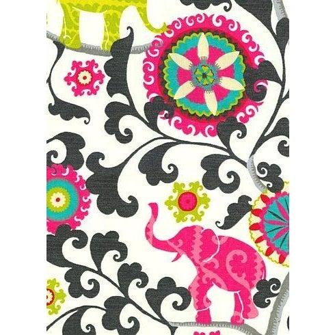 Bohemian Pink Black Elephant Pillows - A Pair - Image 2 of 2