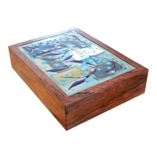 Large Rosewood and Enamel Cigar Box by Alfred Klitgaard & Maria Viktor