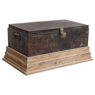Early 20th Century Metal Trunk Set into Plinth