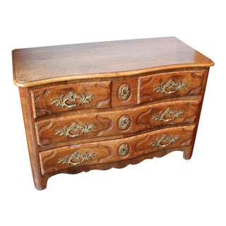 French Louis XV Walnut & Bronze Hardware Commode