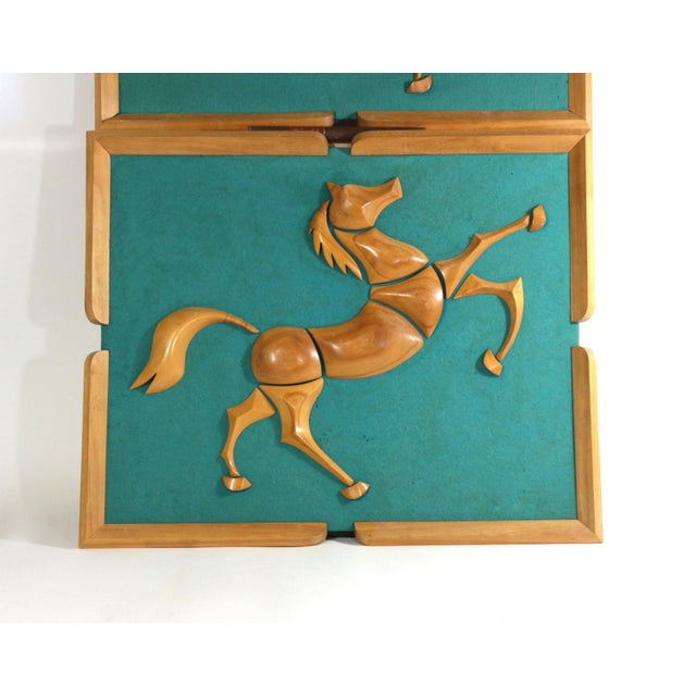 Image of 1950s Turquoise Wood & Wool Horse Wall Art -A Pair