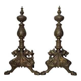Massive Renaissance Revival Andirons - a Pair