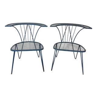 Tempestini for Salterini Mid-Century Blue Iron Mesh Patio Chairs- A Pair