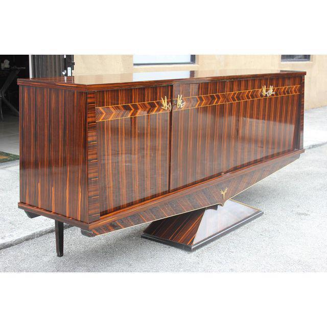 Fantastic French Art Deco Macassar Ebony Sideboard / Buffet Very Unique  Pedestal Base Circa 1940s.