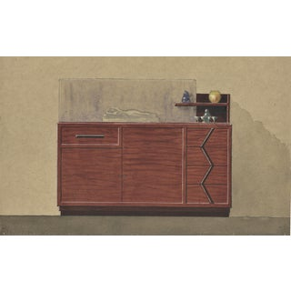 Original French Art Deco Furniture Illustration